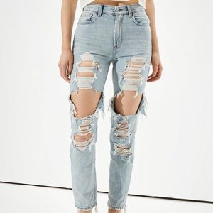 American Eagle High Rise Ripped Mom Jeans
